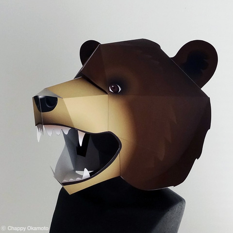 ペーパークラフトクマのかぶりもの