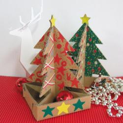 ダンボール工作ミニクリスマスツリーセット色塗り例